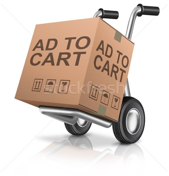 Advertentie winkelwagen web winkel icon webshop Stockfoto © kikkerdirk