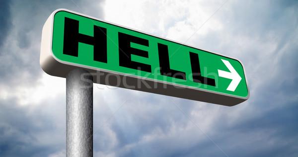 Welkom hel kwaad duivel ramp teken Stockfoto © kikkerdirk