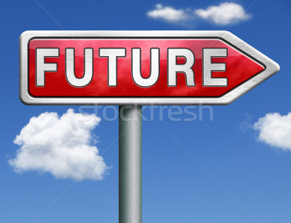 Stock photo: future road sign arrow
