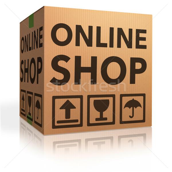 Webshop online internetes vásárlás ikon kartondoboz csomag Stock fotó © kikkerdirk