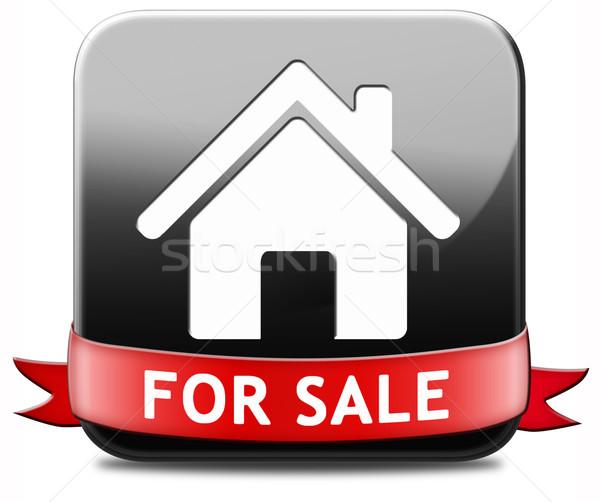 Ház vásár felirat szalag elad lakás Stock fotó © kikkerdirk