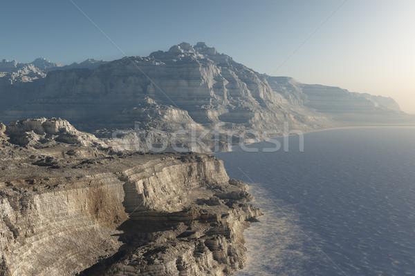 Dziwaczny wybrzeża obraz niebo górskich sztuki Zdjęcia stock © Kirschner