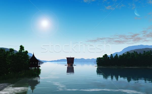 Viking gemi görüntü sabah ev bulutlar Stok fotoğraf © Kirschner