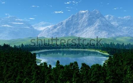 Büyük dağlar görüntü pastoral manzara gökyüzü Stok fotoğraf © Kirschner