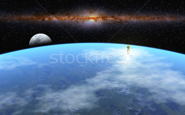 Kalkış ay görüntü roket başlatmak sütlü Stok fotoğraf © Kirschner