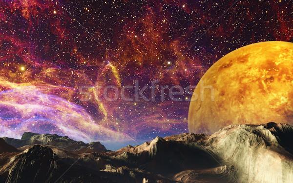 Yabancı manzara görüntü bilinmeyen gezegen arka plan Stok fotoğraf © Kirschner
