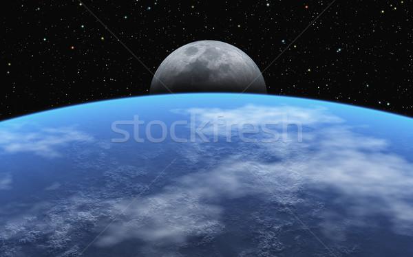 Görüntü toprak evren bulutlar doğa ay Stok fotoğraf © Kirschner