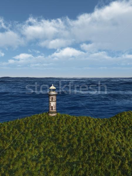 Eski deniz feneri görüntü okyanus plaj çim Stok fotoğraf © Kirschner