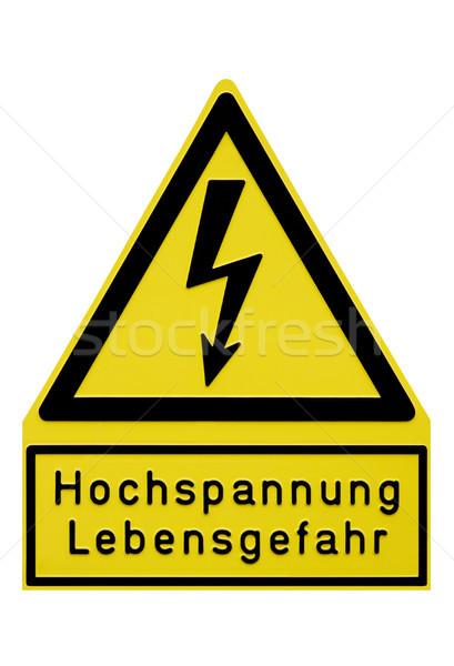 Hoogspanning teken afbeelding alarm metaal kunst Stockfoto © Kirschner