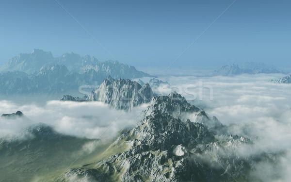 Dağlar görüntü yüksek bulutlar çim doğa Stok fotoğraf © Kirschner