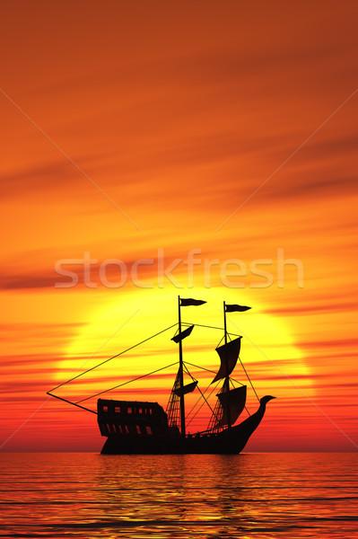 帆船 画像 古い 日没 空 水 ストックフォト © Kirschner