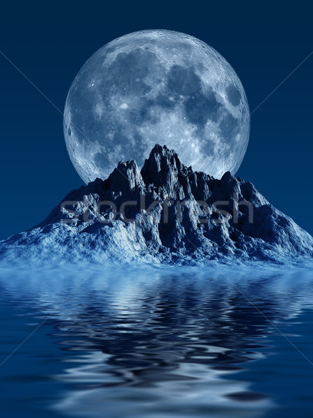 山 月 画像 生成された 海 水 ストックフォト © Kirschner
