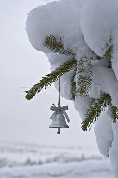 Küçük noel ağacı çan görüntü gümüş kar Stok fotoğraf © Kirschner