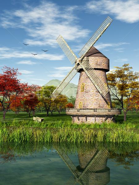 風車 画像 秋 水 雲 木材 ストックフォト © Kirschner