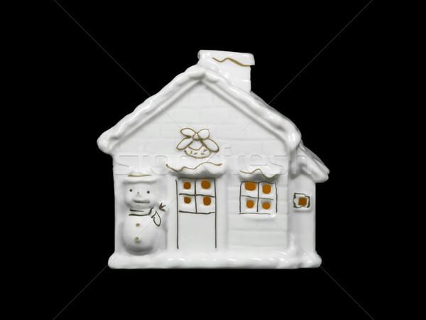 Porselein huis afbeelding christmas kaars licht Stockfoto © Kirschner