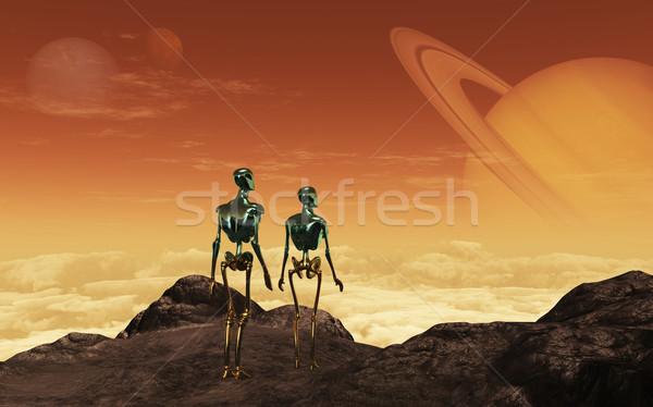 изображение два неизвестный планеты небе пейзаж Сток-фото © Kirschner