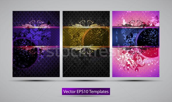 Absztrakt három különböző szín sablonok keret Stock fotó © kjolak