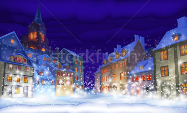 Navidad tarjeta de felicitación fabuloso ciudad noche feliz Foto stock © kjolak