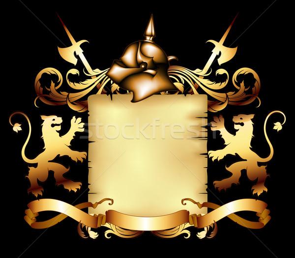 Retró stílus régi pergamen díszített erő grafikus katonaság Stock fotó © kjolak