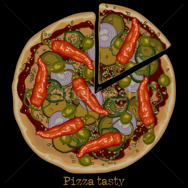 Pizza tekening plantaardige stuk gesneden af Stockfoto © kjolak