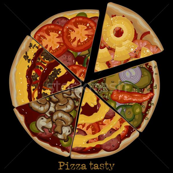 Pizza tekening omhoog zes stukken verschillend Stockfoto © kjolak