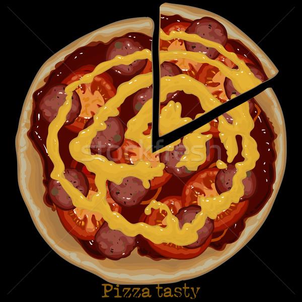 Pizza tekening kaas stuk gesneden af Stockfoto © kjolak