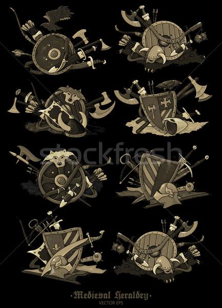 shields medieval hand drawing Stock photo © kjolak