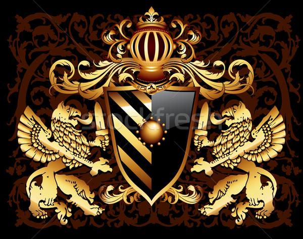декоративный щит два грифон корона Сток-фото © kjolak