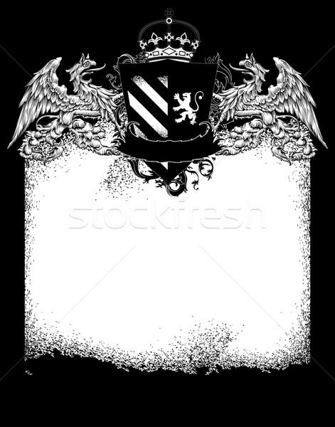 кадр белый украшенный Vintage эмблема Сток-фото © kjolak