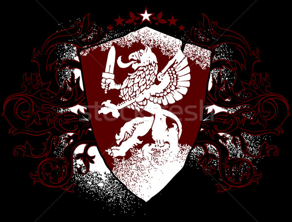 декоративный щит изображение грифон украшенный дизайна Сток-фото © kjolak
