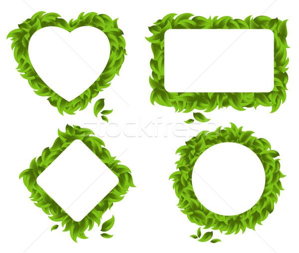 Vier bladeren hart cirkel rechthoek abstract Stockfoto © kjolak