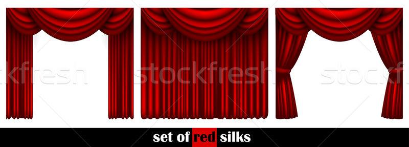 Három színház függöny díszített különböző művészet Stock fotó © kjolak