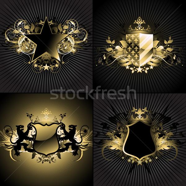 декоративный набор четыре украшенный ретро-стиле ретро Сток-фото © kjolak