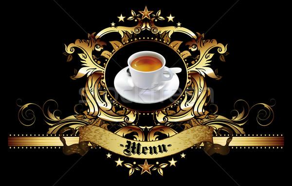 Menü terv kávé design sablon kávéház fekete Stock fotó © kjolak