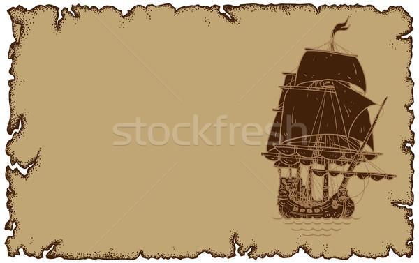 Foto stock: Pergamino · velero · ilustración · útil · disenador · trabajo