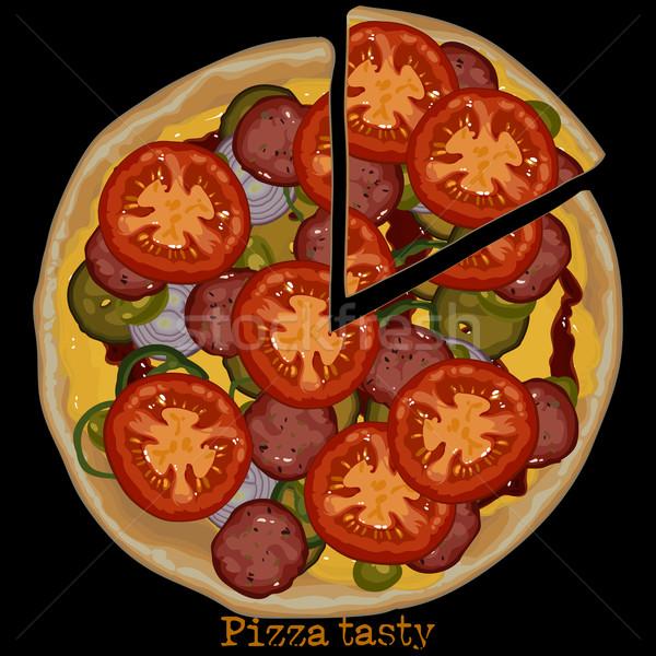 Pizza tekening salami tomaat stuk gesneden Stockfoto © kjolak