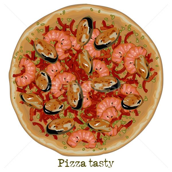pizza, freehand drawing Stock photo © kjolak