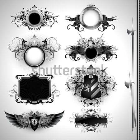 набор декоративный Этикетки иллюстрация полезный дизайнера Сток-фото © kjolak
