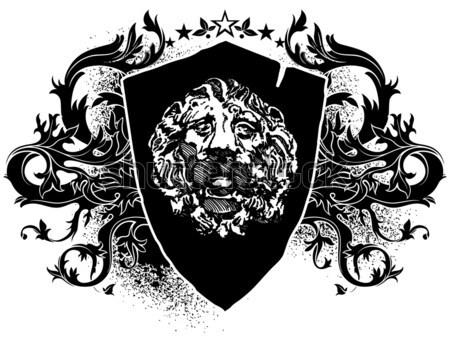 декоративный щит два грифон лев украшенный Сток-фото © kjolak