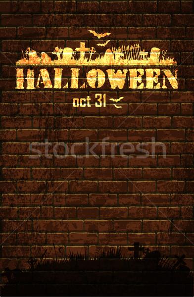 Хэллоуин луна старые кирпичная стена силуэта кладбище Сток-фото © kjolak