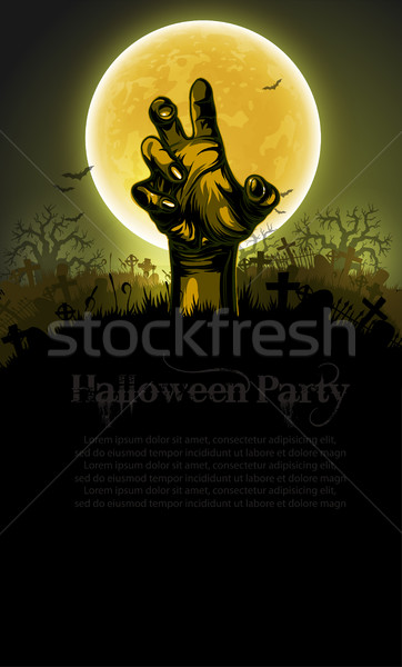 Halloween kéz sziluett háttér nagy hold Stock fotó © kjolak