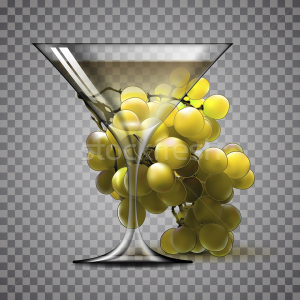 átlátszó üveg bor fehérbor ág szőlő Stock fotó © kjolak