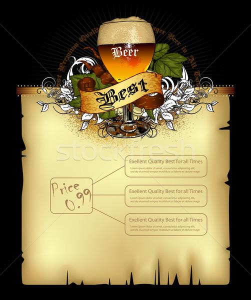 Bière menu pub décoré style rétro affaires Photo stock © kjolak