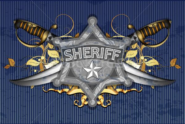 Sheriff csillag illusztráció hasznos designer munka Stock fotó © kjolak
