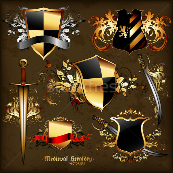 набор средневековых геральдика иллюстрация полезный дизайнера Сток-фото © kjolak