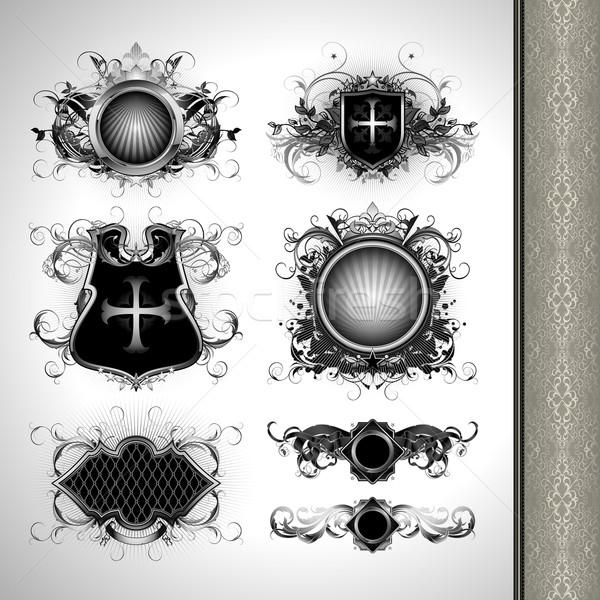 Medieval heráldica ilustración útil disenador trabajo Foto stock © kjolak