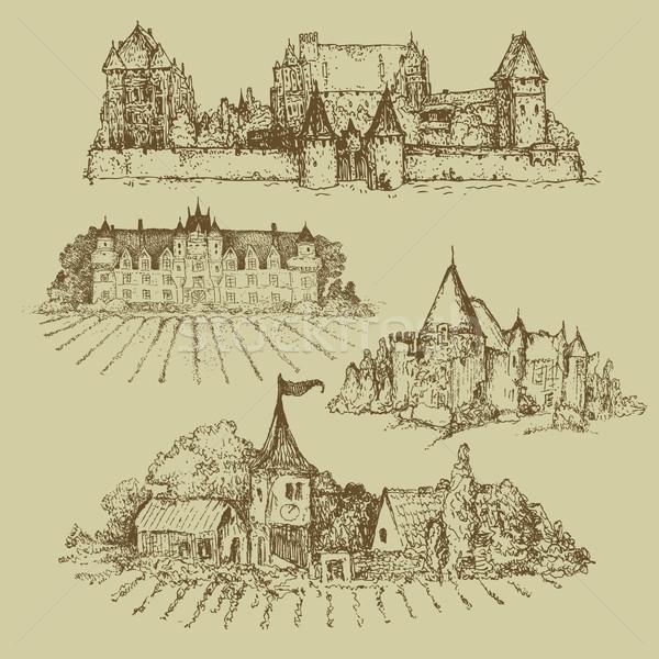 four drawings of castles Stock photo © kjolak