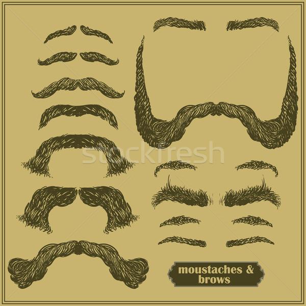 Bajusz szemöldök szett különböző formák szakáll Stock fotó © kjolak