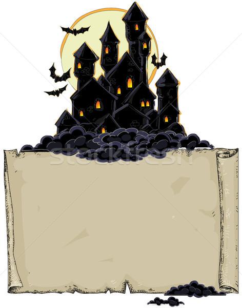 Papier zwarte kasteel illustratie nuttig ontwerper Stockfoto © kjolak