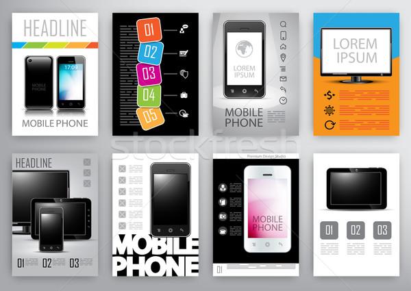 Ingesteld ontwerpsjabloon ontwerp sjablonen brochures digitale Stockfoto © kjolak